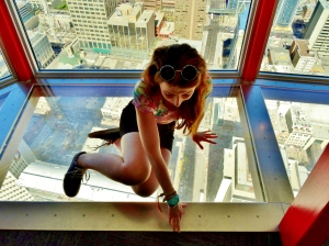Me, being an absolute wuss on the glass platform.