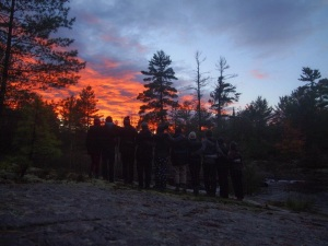 Queen's Outdoors Club marveling at the Algonquin sunset