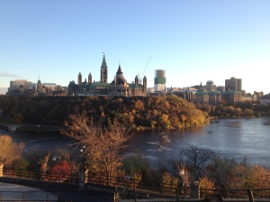 The fall colours and parliament buildings in Ottawa