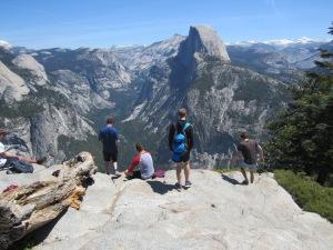 The view of half dome in Yosemite.