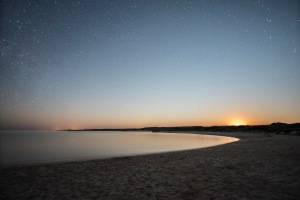 Moonrise and the stars at Sandy Bay