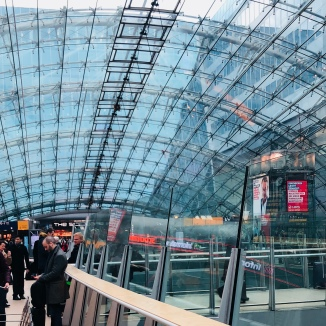 Frankfurt Station was pretty but there was a train strike...